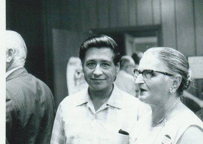 Cesar Chavez with supporters in Providence, Rhode Island, 1975