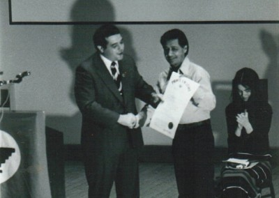 Cesar Chavez receives Proclamation from Mayor Buddy Cianci in Providence, Rhode Island, 1975